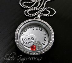 I carry your heart in my heart / Floating Locket / Personalized Hand Stamped Jewelry by Silver Impressions