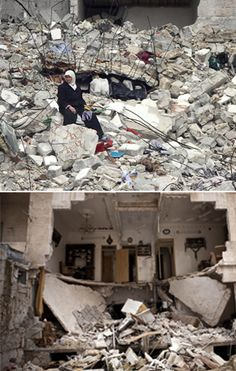 Top: A Syrian woman sits on the ruins of her house – destroyed in an air strike by government war planes, killing 11 members of her family, in the Aleppo, Syria.