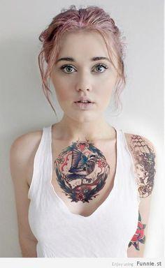 girl tattoos, tattoo women, bird tattoos, hair colors, chest piec, a tattoo, shoulder tattoos, birds, tattoo ink