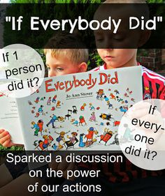 """Using the children's book """"If Everybody Did"""" we talked about the power of our actions.  Great conversation about influence and consequence.  Drawing activity after reading the book.  #parenting #kindness #kidlit"""