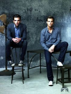Chris Pine and Zachary Quinto in dressed down casual l wantering.com