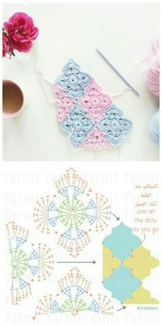 Crochet Moroccan tiles motif with diagram ♡