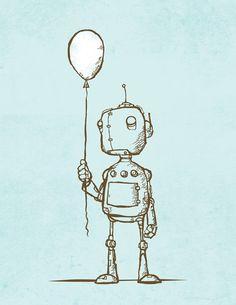 Love these robots, robot balloon, illustrations, art prints, drawing boy, boy rooms, balloons, robot art, michael murdock
