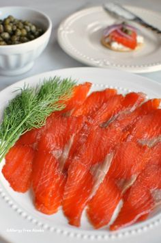 How To Make Refined Sugar Free Gravlax (Salt-Cured Salmon): 1 pound salmon fillet, with skin on 1/4 cup kosher salt 1/4 cup palm sugar (or organic brown sugar) 1 tablespoon coarse ground black pepper 1/2-3/4 teaspoon Wright's Liquid Smoke, optional