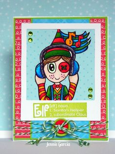 Elf card using the Wintery Puns Stamp Set.