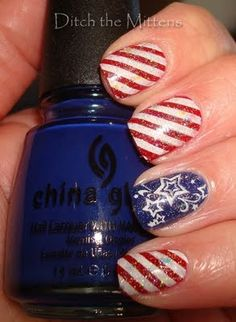 4th of July Manicure, stripes and stars