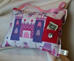 Castles Tooth Fairy Pillow  Pink & Purple by CozyMouseCreations, $12.00