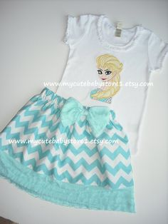 Elsa the Snow Queen From Frozen Shirt and Skirt Outfit. on Etsy, $49.00