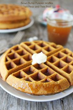 Brown Butter Pumpkin Waffle Recipe | twopeasandtheirpod.com These waffles are amazing!