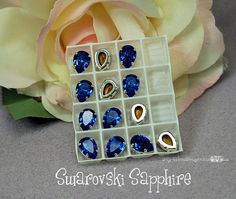 Vintage Sapphire Sew On - Swarovski Crystal 10x7mm Pear 4320 - SP 4-hole Prong Setting - Wire Jewelry Supply - Component