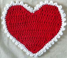 Valentine Heart Crochet Dishcloth. ♥ⓛⓞⓥⓔ♥