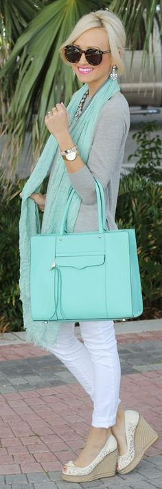 mint green, mint and grey outfit, bag, white pants, tunic sweater, color combinations, mint scarf, grey tunic, turquoise outfit