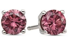 3/4 Carat Pink Diamond 14K White Gold Solitaire Earrings