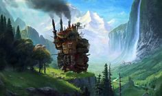 A mashup of Studio Ghibli´s brainchild Howl´s moving castle which was painted over an existing artwork by Albert Bierstadt called Staubbach ...