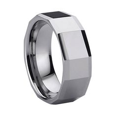 Man\s Beautiful Tungsten Dating Ring faceted