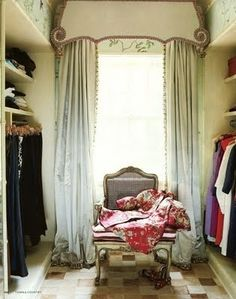 Stunning closet window treatments... design by Miles Redd #cornice board