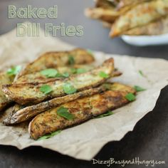 Baked Dill Fries - Delicious, guilt-free fries dressed-up with olive oil and dill weed and baked until crispy on the outside!