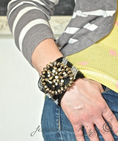 Make a grown-up slap-bracelet cuff for the holidays….
