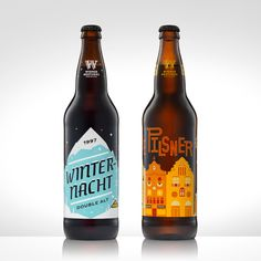 30 Beers for 30 Years - Winternacht and Pilsner  Winternacht label: Jen Wick of Jen Wick Studios Pilsner label: Jason Sturgill