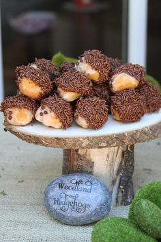 Hedgehogs made with donut holes, melted chocolate, and chocolate sprinkles