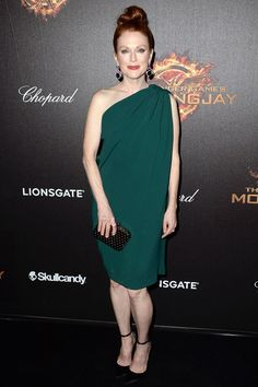 Julianne Moore wore a one-shoulder dress and satin pumps by Lanvin.
