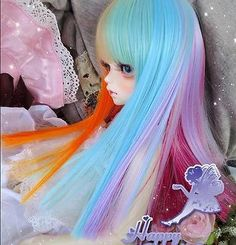 """1 4 7 8"""" DAL Pullip BJD SD LUTS Blyth Doll Long 18 19 Wig Hair 7 Color Mix HT 