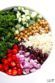 Chopped Kale Greek Salad   gimmesomeoven.com