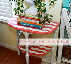 Chevron Painted Side Table - Mom 4 Real