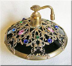 Vinrtage - Czech Deco jeweled filigree old estate glass perfume bottle