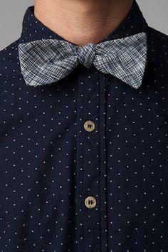 Bow + polka dot shirt