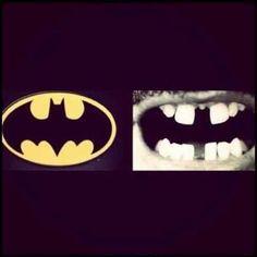 Teeth and the batman emblem