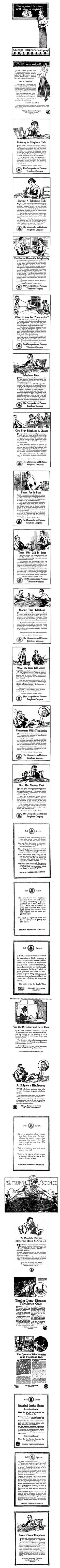 The telephone company attempts to teach the public how to use the telephone, 1917-1919