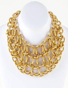 Etienne Aigner chain-link bib necklace.