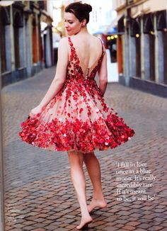 Lighthearted fun with sequins in crimson shades >> Wouldn't you just feel so fun and fancy free in this dress?! Ooh La La!