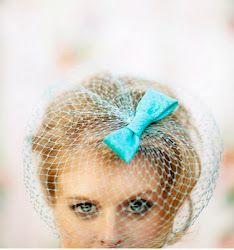 wedding veils, aqua blue, birdcage veils, blue weddings, bow, something blue, wedding hairstyles, hair trend, blues