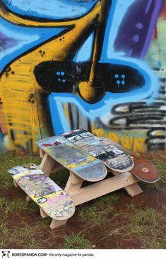 Skateboards Into Children Picnic Table-15 Creative Ways to Repurpose