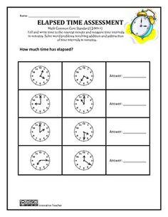 ELAPSED TIME ASSESSMENT GRADE 3 (3.MD.1)