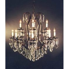 "Wrought Iron Crystal Chandelier H30"" x W28"""