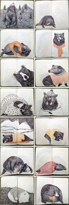 draw, sketchbook inspir, lieke van der vorst, vans, illustration sketch book, bears, art, liek van, bear book