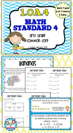1.OA.4: Math tasks, exit tickets, I can statements. Perfect for getting little minds to begin to have math discussions. $  #exittickets #mathtasks #createabilities