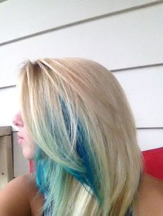 Aqua blue peekaboo highlights (i love my hair !!!!!!)