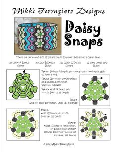 Bead Mavens: Daisy Snaps - Using snaps on flat bracelets.  Detailed schema w/directions.   #Seed #Bead #Tutorials