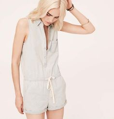 Lou & Grey Chambray Romper | Loft $60