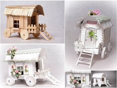 Beautifully crafted wagon out of popsicle sticks.