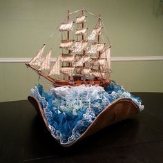 atelierheidi:  My newest creation, sailing across a sea of lace! I lost track of how many yards of lace went into this thing, but I would es...