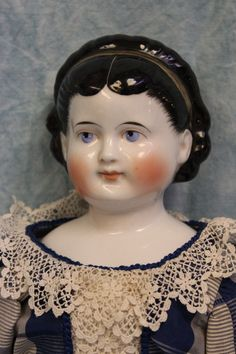 """20"""" Antique ca.1890's Child China head doll from Mildred Seeley Collection"""