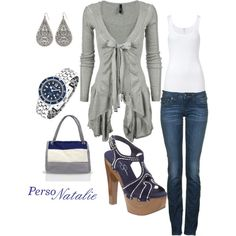 Grey/Blue, created by natalie-buscemi-hindman on Polyvore