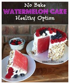 Watermelon Cake made with whipped cream