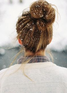 holiday, winter snow, bun hairstyles, cozy winter, winter wonderland, messy buns, winter hair, snowflak, hair buns