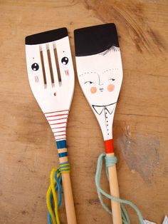 Decorative wooden spoon hand painted home decor